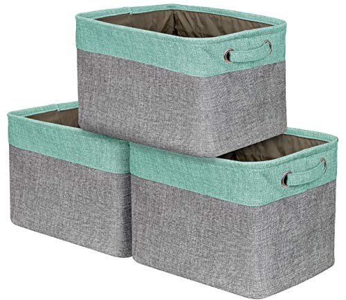 Sorbus Storage Large Basket Set [3-Pack] - 15 L x 10 W x 9 H - Big Rectangular Fabric Collapsible Organizer Bin Carry Handles Linens, Towels, Toys, Clothes, Kids Room, (Linen Towel Fabric)