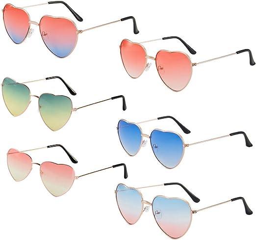 MEJOSER 6 Gafas Divertidas en Forma de Corazón Gafas Fiesta Disfraz Tropical Hawaiana Hippie Boda de Colores: Amazon.es: Juguetes y juegos