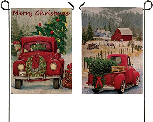 2 Pack Home Decorative Merry Christmas Garden Flag, Xmas Quote House Yard Flag with Red Truck, Burlap Rustic Winter Garden Yard Decorations, Vintage Seasonal Outdoor Flag 12 x 18 for Holiday (1 Xmas)