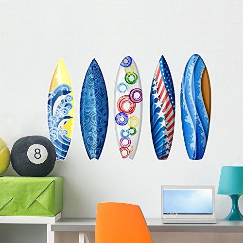 - Wallmonkeys Blue Surfboard Wall Decal Sticker Set Individual Peel and Stick Graphics on a (36 in W x 24 in H) Sticker Sheet WM427093