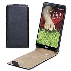 Moozy premium magnética delgada funda Flip LG D802 Optimus G2 Caso / Cover / Bolsa Libro Billetera vertical Negro Frc