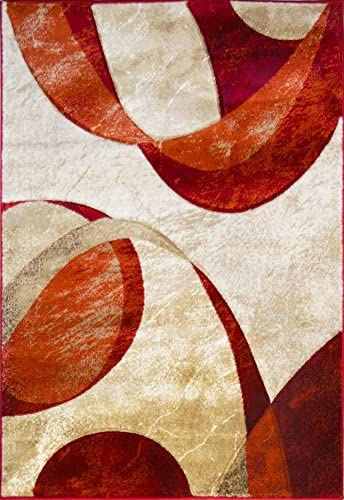 ADGO Atlantic Collection Modern Contemporary Abstract Geometric Circles Squares Swirls Living Dining Room Area Rug 3 x 5 , 6321AR – Red Cherry Tan