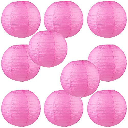 WYZworks Round Paper Lanterns 10 Pack (Candy Pink, 10