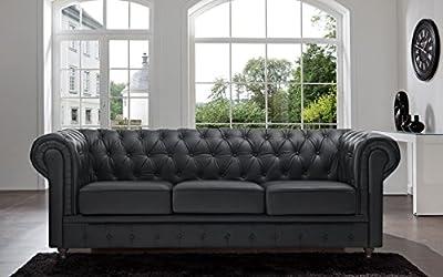 Tufted Scroll Arm Black / White Bonded Leather Sofa (Black, Sofa)