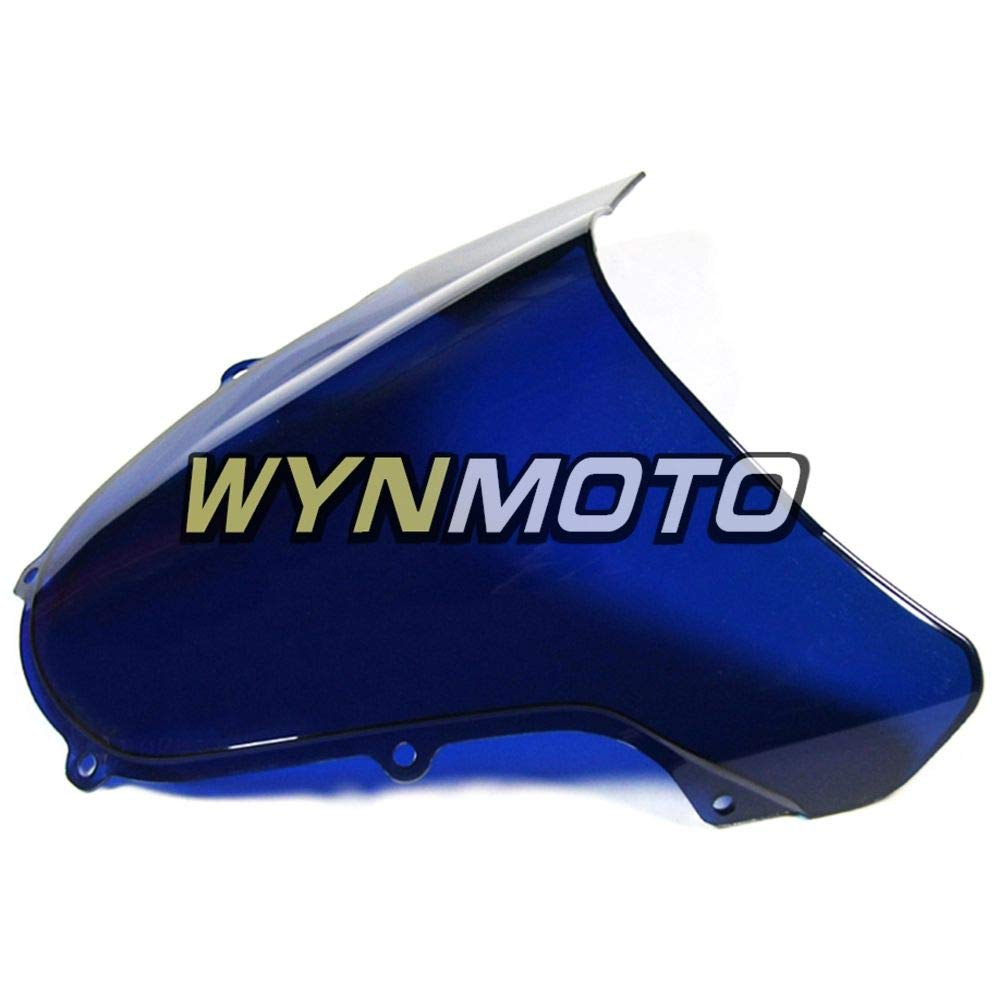 Ceramicszb Motorcycle Bodywork ABS Plastic Double Bubble Windscreen For Suzuki GSXR1000 2000 2001 2002 GSXR-1000 Injection Fairing Windshield Blue