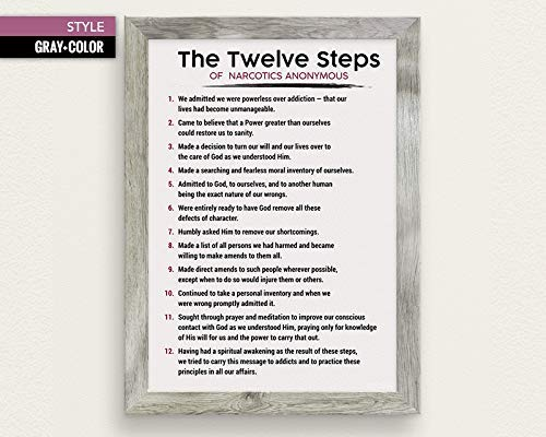 The 12 Steps of NA - Narcotics Anonymous - 3 Color Styles - 11x17, 16x20, 18x24, 24x36 - Addiction Therapy & Recovery