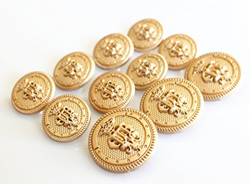 YCEE 11 Pieces Gold Metal Blazer & Suits Button Set - Shallow Relief Surface King's Crown - For Blazer, Suits, Sport Coat, Uniform, Jacket (Metal Gold Buttons)