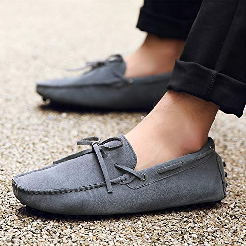 Loafers Slippers Size Big Men's Suede Moccasin Shoes Soft rismart Handmade Grey Driving IwZfp1q