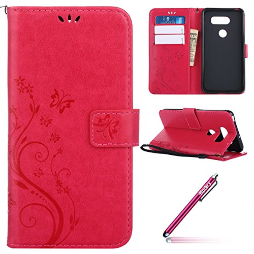 Leather Case for LG V30,LG V30 Wallet Flip Case,LG V30 Cover Bumper,Hpory Vintage Retro Schmetterling Malerei Muster Kunstleder PU Leder Brieftasche im Boolstyle Flip Case Folio Ledertasche Handyhülle Rosa