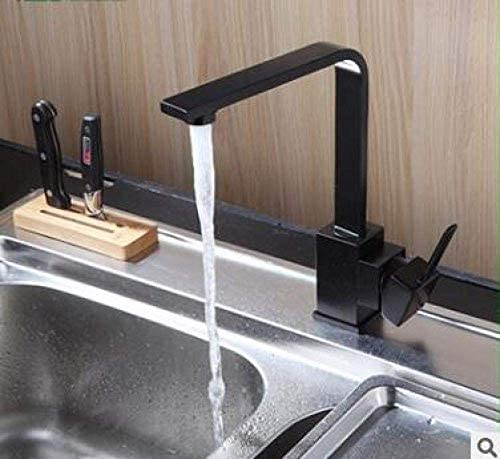 YYG-YYG 全銅黒いモダンなキッチンのシンクの蛇口ホットとコールドのシンプルなスクエアを回転させることができペイント 蛇口