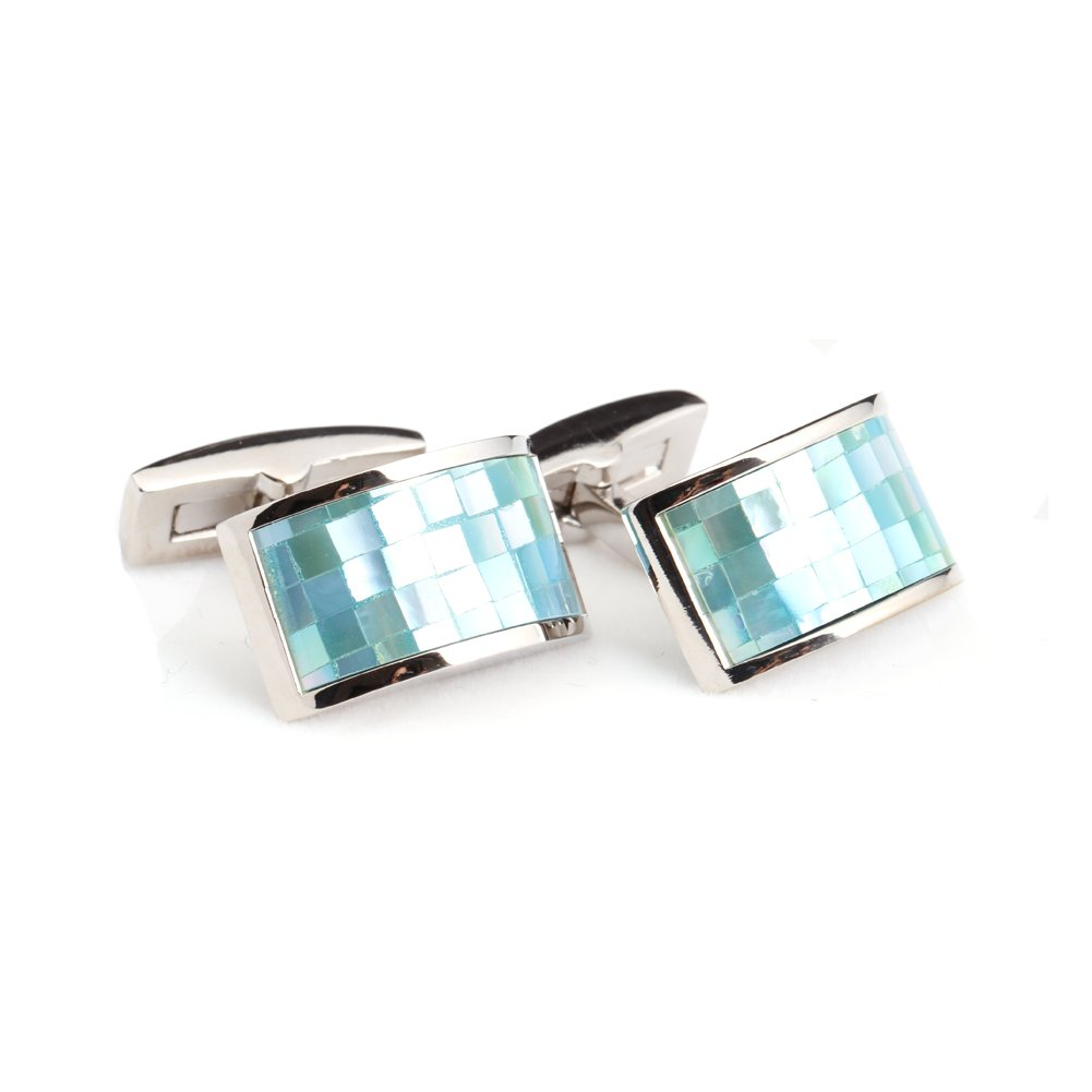 Digabi Mens Jewelry Hellenic Historical Tracery Shirt Cuff Cufflinks Color Silver and Blue