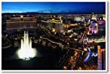 The Strip & Bellagio Hotel Fountain - Las Vegas, Nevada - NEW Travel Poster