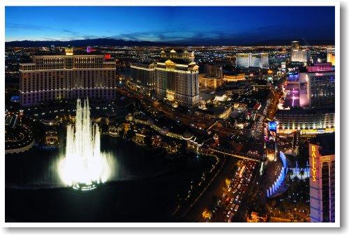 The Strip & Bellagio Hotel Fountain - Las Vegas, Nevada - NEW Travel Poster