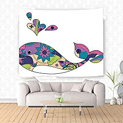 Nalahome Whale Decor Vector Pastel Painted Moden Indian Floral Designed Smiling Whale Artwork Multi Colored Ethnic Decorative Tapestry Blanket Wall Art Design Handicrafts 80W x 59L Inches
