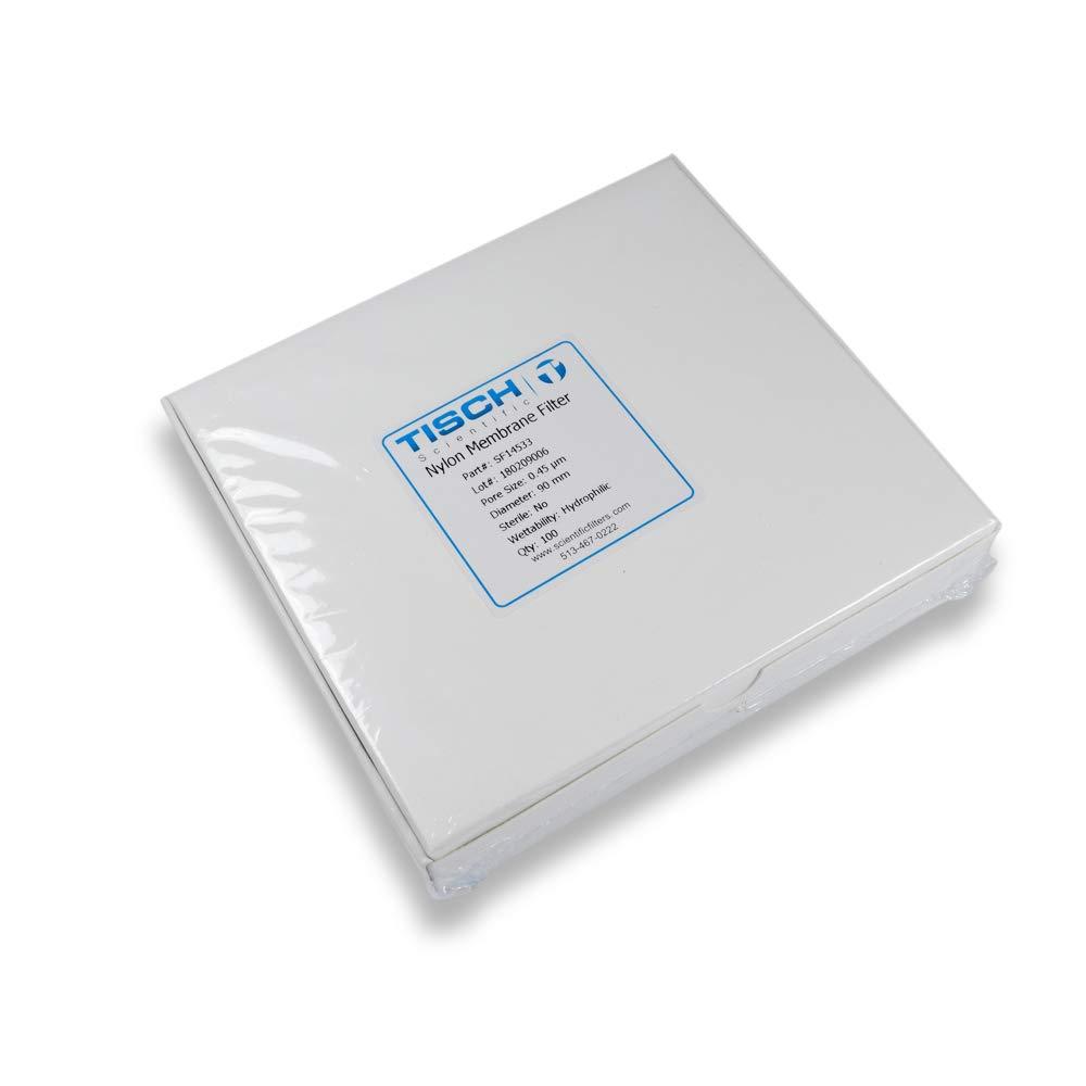 Tisch Brand SF14533 Nylon Membrane Filter, 0.45um, 90mm 1/pk/100 per Pack | Wettability: Hydrophilic | Maximum Operating Temperature: 100 Degrees C | Flow Rate: 8 (ml/min@10psi) | by Tisch Scientific
