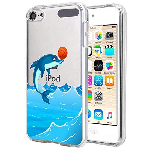 Carbon Fiber Ipod Touch Case - Matcase for I pod Touch 6 I pod Touch 5 - Dolphin Play Basketball Crystal Clear Transparent Anti Scratch Resistant Shock Absorption Ultra Slim Fit Protective with TPU Bumper Hybrid Designer Case