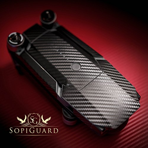 SopiGuard Black Carbon Fiber Precision Edge-to-Edge Coverage Vinyl Skin Controller Battery Wrap for DJI Mavic - Fiber Carbon Pro Stock
