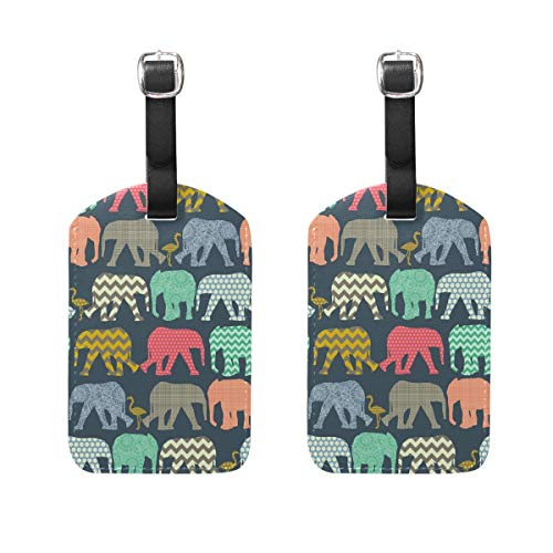 Little Baby Elephant And Flamingo PU Leather Luggage Tags Suitcase Labels Bag Travel Accessories - Set of 2 ()