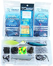 Saltwater Lures Surf Fishing Gear Tackle Box Set - 146 pcs, Hooks, Stainless Steel Leaders, Surf Fishing Rigs,