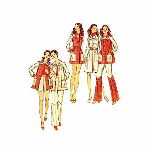 1970s Smock Top Dress Pants Shorts Butterick 6548 Vintage Sewing Pattern Size 10 Bust 32 1/2