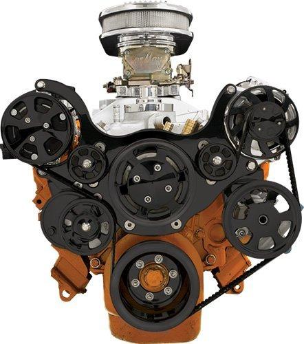 NEW BILLET SPECIALTIES BLACK TRU-TRAC SMALL BLOCK CHRYSLER FRONT ENGINE KIT WITH AIR CONDITIONING COMPRESSOR, WATER PUMP, ALTERNATOR, POWER STEERING PUMP, BLACK SERPENTINE PULLEYS, & BLACK BRACKETS, CHRYSLER 318, 340, 360
