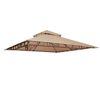Chi Mercantile 10.6' X 10.6' 2-Tier Tan Gazebo Top Canopy Replacement Cover for Madaga Frame Patio Garden : Garden & Outdoor