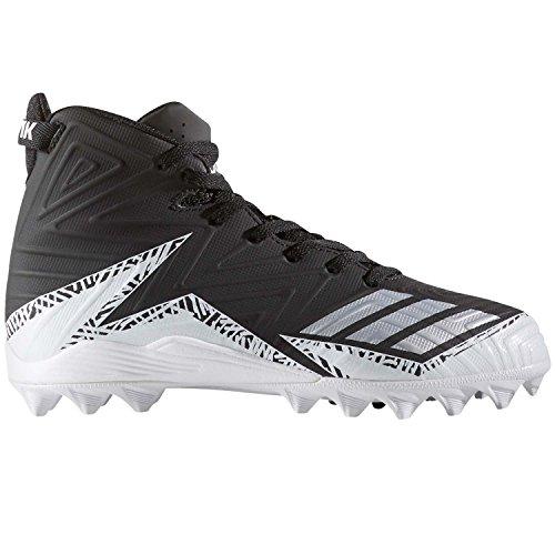 Mid Cut Cleat - adidas Men's Freak X Carbon Mid Football Shoe, Black/Metallic Silver/White, 2 Medium US Big Kid
