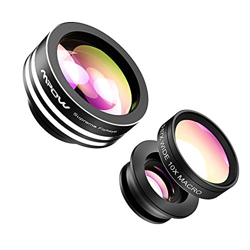 3 in 1 Clip-On 180 Degree Supreme Fisheye Lens, 0.67X Wide Angle Lens, 10X Macro Lens Kit for iPhone 6/ 6S/6Plus, iOS &Android Smartphones