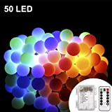 Battery Powered 16ft 50 LED Outdoor Globe String Lights with Remote, ProGreen 8 Modes Dimmable Waterproof Ball Lights for Garden,Christmas Tree, Parties (Multi Color)