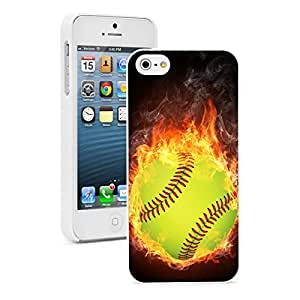 Apple iPhone 5 5S Hard Back Case Cover Color Flaming Softball (White)