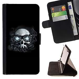 For Huawei Ascend P8 Lite (Not for Normal P8) Case , Hipster Cráneo con los vidrios- la tarjeta de Crédito Slots PU Funda de cuero Monedero caso cubierta de piel