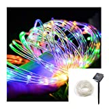 Aluvee Solar Rope Lights,33ft/100LED Waterproof Multi Colors Outdoor String Lights for Garden Halloween Christmas Party Tree Xmas Decoration
