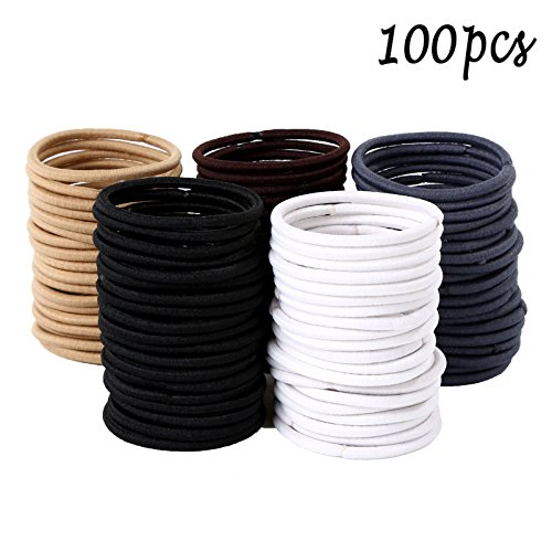 Whaline 4mm Hair Tie Ponytail Holders Multicolor Rubber Elastic Hair Bands for Thick Heavy and Curly Hair (100 Pieces) ()