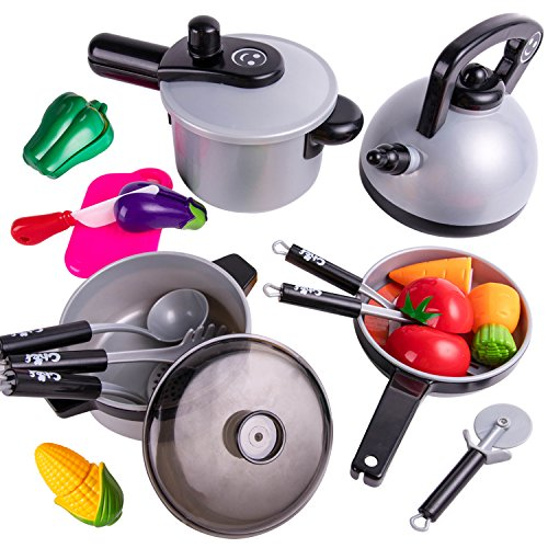 iPlay, iLearn Kids Kitchen Pretend Play Toys, Cooking Set, Pots and Pans, Cookware Playset, Healthy Cutting Vegetables, Knife, Utensils, Learning Gift for 2, 3, 4 Years Old Baby, Girls, Boys, Toddlers -