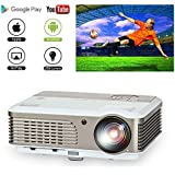 EUG LCD WiFi Android Projector Home Cinema Video Gaming Projectors, Wireless Screen Cast with iPhone iPad, HDMI USB Ypbpr VGA Component Video