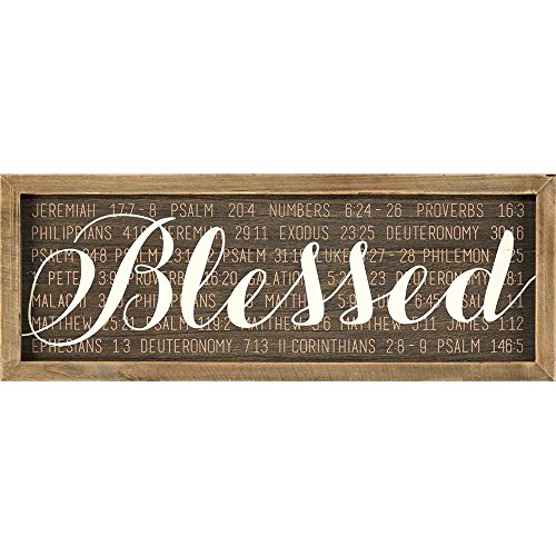 Blessed Plaque - Blessed Scriptures Mocha With Vanilla Script 15 x 5 Wood Wall Sign Plaque
