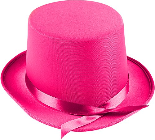 Adults Tap Dancer Magician Pink Fabric Top Hat Costume (Tap Dancer Halloween Costumes)
