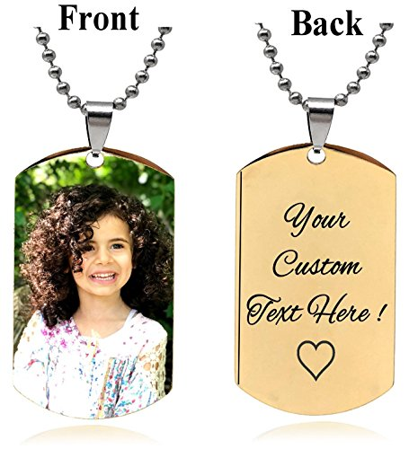 Interway Trading Personalized Rectangular Military Shape Custom Photo High Polished Color Engraved Dog Tag Necklace Pendant with 24 inch Stainless Steel Chain, Velvet Giftpouch and Keyring ()