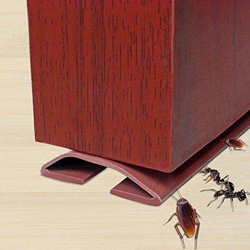 Under Door Draft Stopper,Self-Adhesive Silicone Door Bottom Seal Strip Door Gap Blocker Excluder,39((Brown)