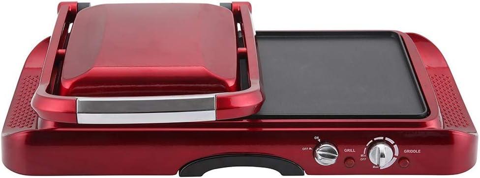 RETRO LINE Grill con placha de Asar RLMFG Color Rojo Metálico, 1600W