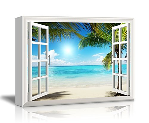 Print Window Frame Style Wall Decor Beautiful Tropical Beach with White Sand Clear Sea and Palm Trees Stretched
