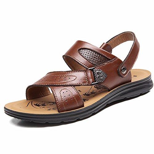 estate vera pelle sandali Uomini Spiaggia scarpa Uomini sandali Uomini scarpa traspirante Tempo libero scarpa Uomini tendenza ,Marrone B,US=9.5,UK=9,EU=43 1/3,CN=45