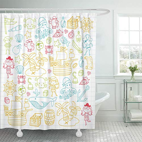 Emvency Shower Curtain Children Playing Pirates Boys and Girls Kindergarten School Preschool Shower Curtains Sets with Hooks 72 x 72 Inches Waterproof Polyester Fabric ()
