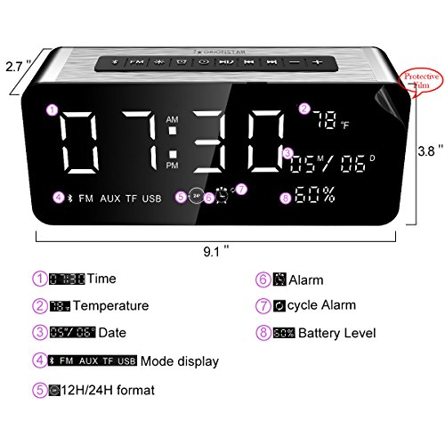 Orionstar Wireless Bluetooth Alarm Clock Radio Speaker with HD Sound & Big Digital Screen Showing Time/Date, Compatible with iPhone/Android/PC4/Aux/MicroSD/TF/USB, for Bedroom Office, Model A10 Silver by Orionstar (Image #2)