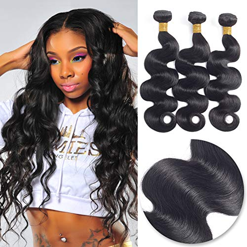 T-zer Brazilian Body Wave Human Hair 3 Bundles 300g (14 16 18 Inch) 8A 100% Unprocessed Brazilian Body Wave Virgin Hair Weave Weft for Black Women Natural Black Color