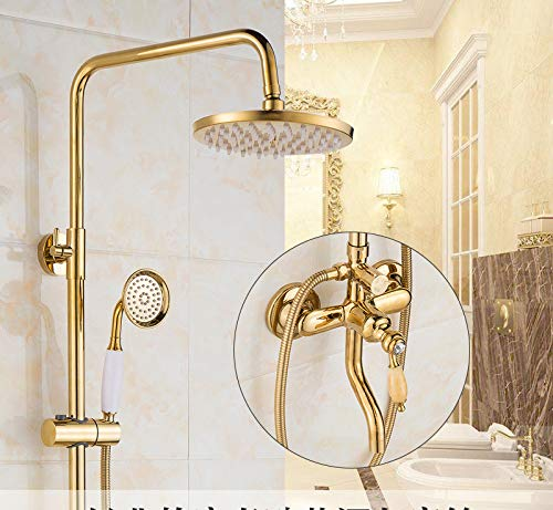 I Hlluya Professional Sink Mixer Tap Kitchen Faucet Shower Kit gold Green Jade marble shower antique shower faucet brass rain-water mixing valve retro shower Series L