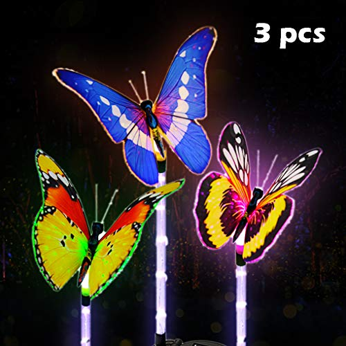 Lasten Garden Solar Lights Outdoor Multi-Color Changing Solar Powered Stake Light with Fiber Optic Butterfly Decorative…