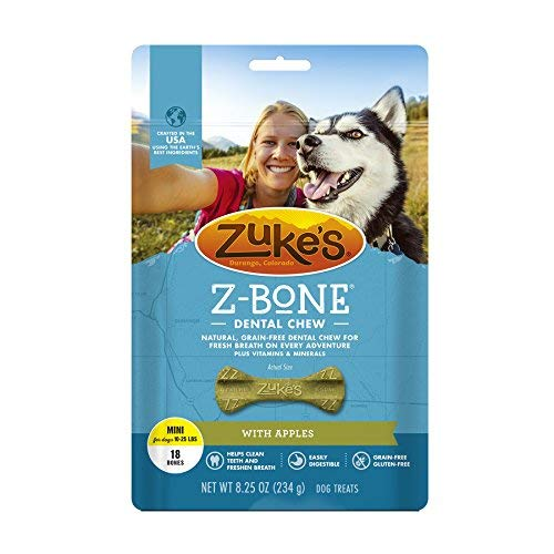 Zuke s Z-Bones Natural Grain-Free Dental Chew Mini Pack of 2 , Apple – 36 Chew Bones Total