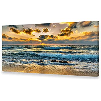 "RED SEA SEASCAPE SUNSET CANVAS WALL ART PRINT SPLIT MULTI 4 PANEL 43/"" X 28/"""
