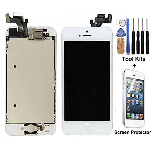 CELLPHONEAGE for iPhone 5 New LCD Touch Screen Replacement White Full Set With Home Button and Camera Digitizer Display Assembly + Free Repair Tool Kits + Free Screen Protector
